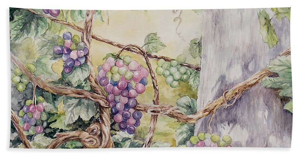 Vines Bath Sheet featuring the painting Grapevine Laurel Lakevineyard by Valerie Meotti