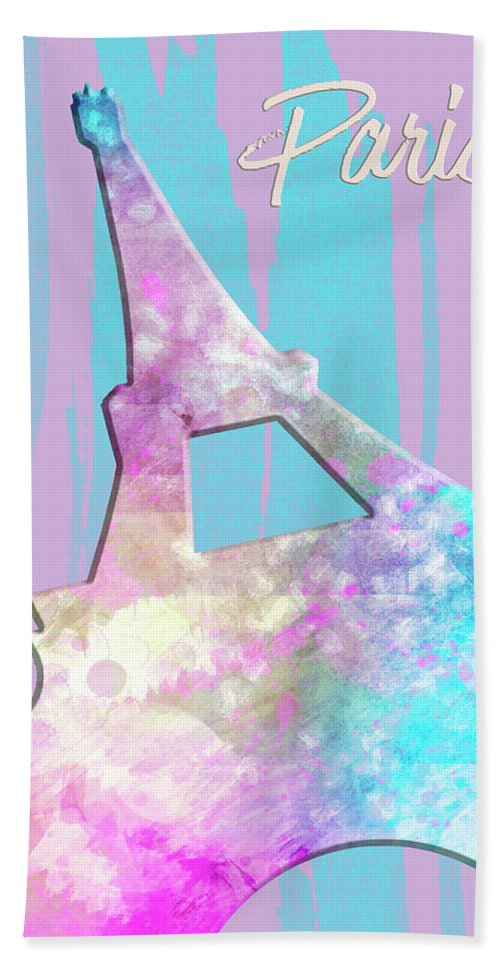 Abstract Hand Towel featuring the digital art Graphic Style Paris Eiffel Tower Pink by Melanie Viola