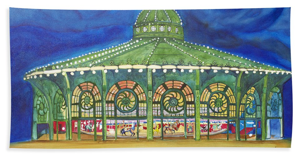 Night Paintings Of Asbury Park Bath Sheet featuring the painting Grasping The Memories by Patricia Arroyo