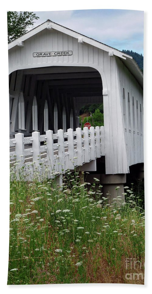 Grave Creek Covered Bridge Hand Towel featuring the photograph Grave Creek Bridge by Methune Hively