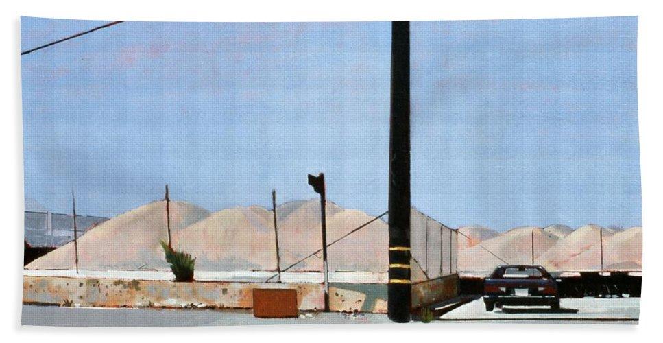 Gravel Piles Downtown La Bath Towel featuring the painting Gravel Piles Downtown La by Peter Wilson