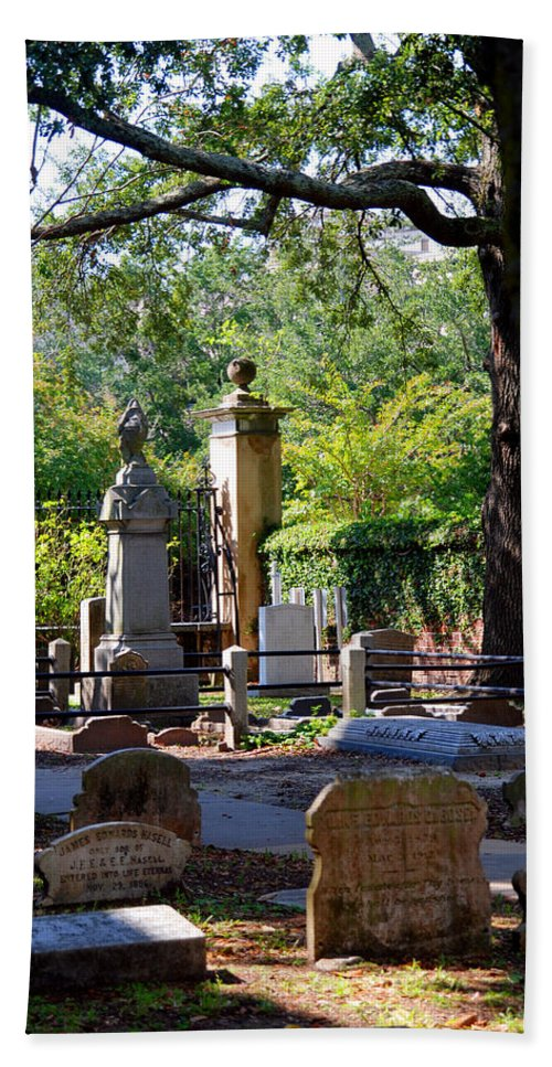 Photography Hand Towel featuring the photograph Graveyard In Charleston by Susanne Van Hulst