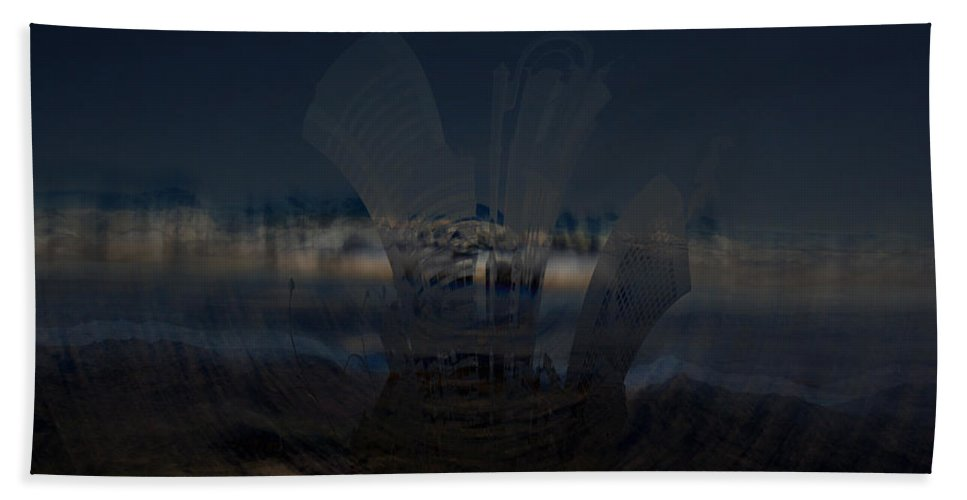 City Skyscape Land Scape Buildings Spinning Weird World Sky Mountains Bath Sheet featuring the photograph Gravitational Pull by Andrea Lawrence