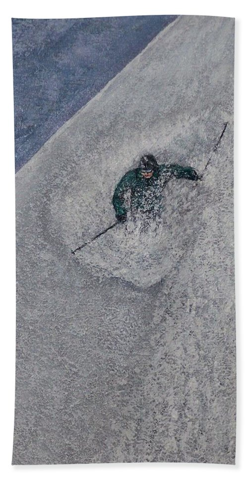 Ski Hand Towel featuring the painting Gravity by Michael Cuozzo