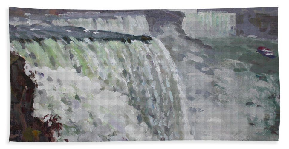 Gray Day Hand Towel featuring the painting Gray And Cold At American Falls by Ylli Haruni