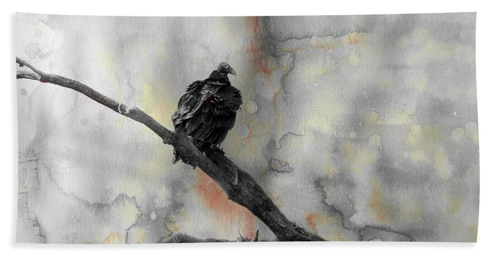 Vulture Hand Towel featuring the mixed media Gray Day Vulture by Gothicrow Images