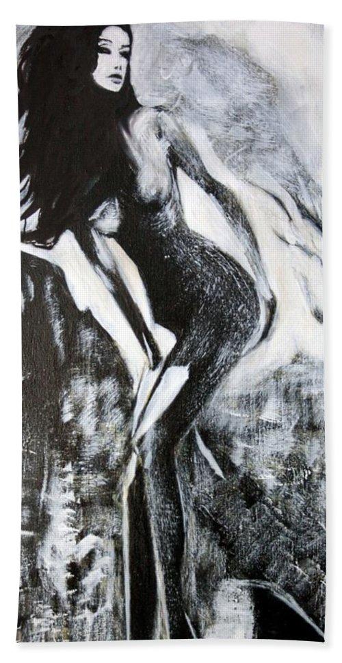 Beautiful Hand Towel featuring the painting Gray Desert by Jarko Aka Lui Grande