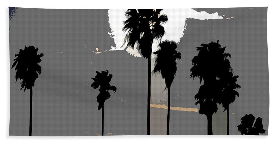 Palms Hand Towel featuring the painting Gray Palms by David Lee Thompson