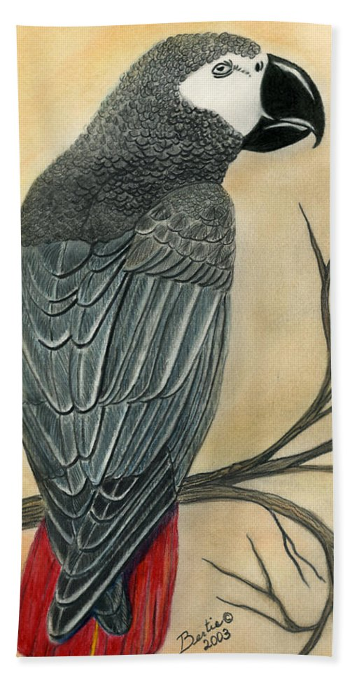 Gray Bath Sheet featuring the painting Gray Parrot by Bertie Edwards
