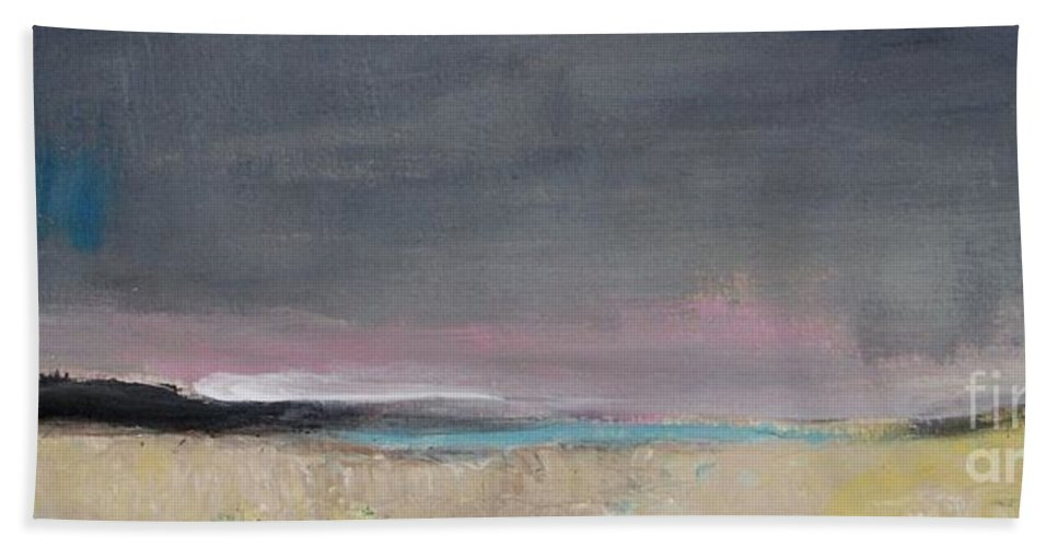 Panoramic Bath Sheet featuring the painting Gray Sky by Vesna Antic