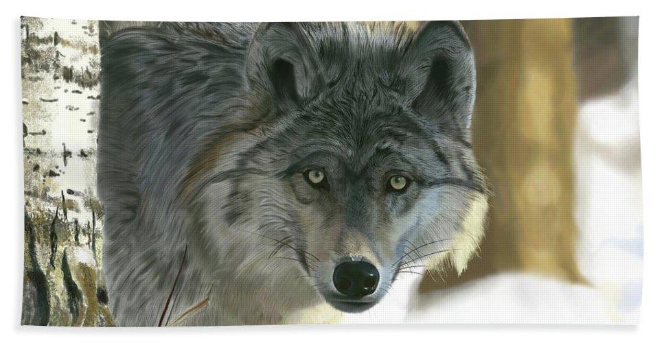 Wolf Bath Towel featuring the digital art Gray Wolf by Nigel Follett