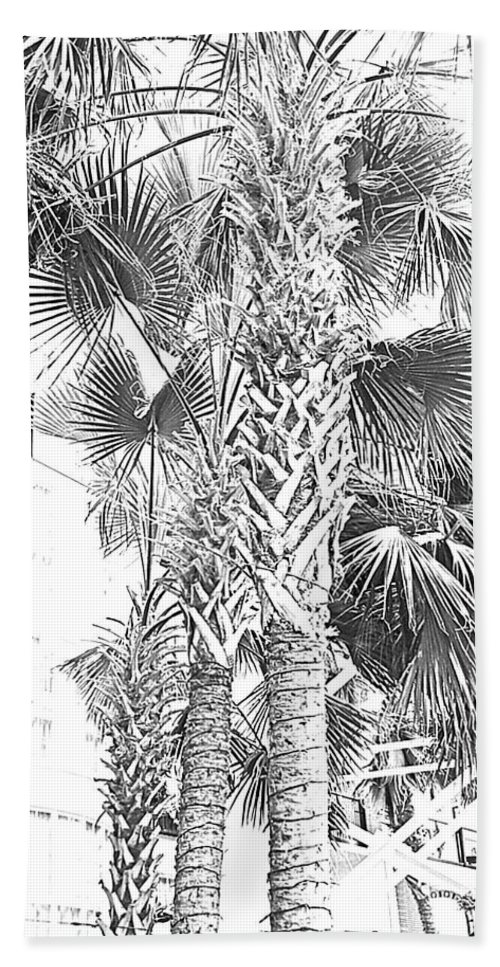 Digital Art Hand Towel featuring the photograph Grayscale Palm Trees Pen And Ink by Marian Bell