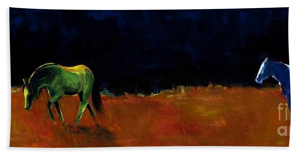 Abstract Horses Hand Towel featuring the painting Grazing In The Moonlight by Frances Marino