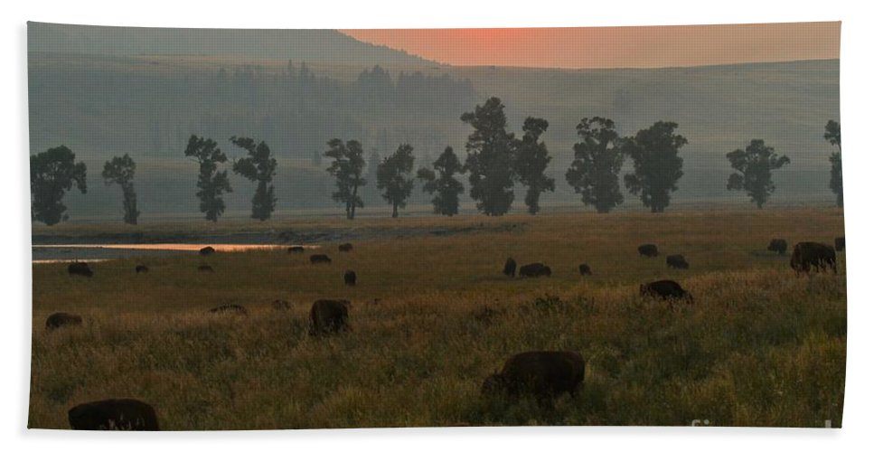 Lamar Valley Sunset Hand Towel featuring the photograph Grazing In The Smoke by Adam Jewell