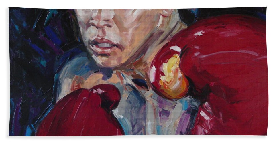 Figurative Bath Towel featuring the painting Great Ali by Sergey Ignatenko