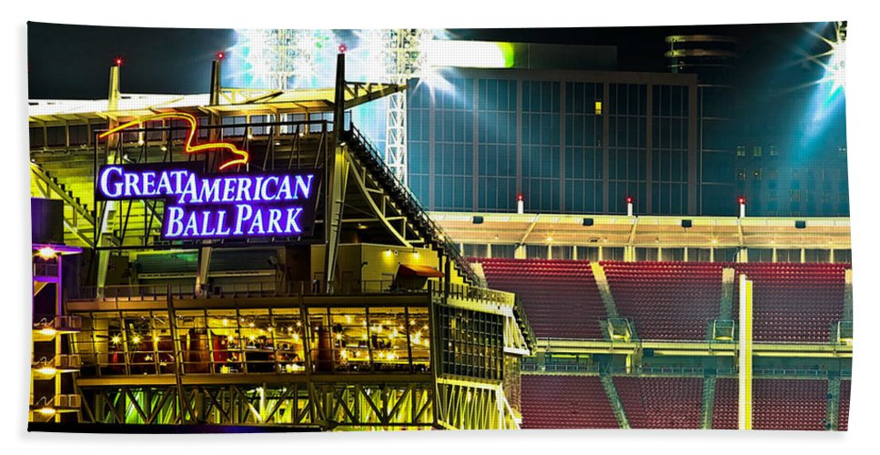 Great American Ballpark Hand Towel featuring the photograph Great American Ballpark by Keith Allen