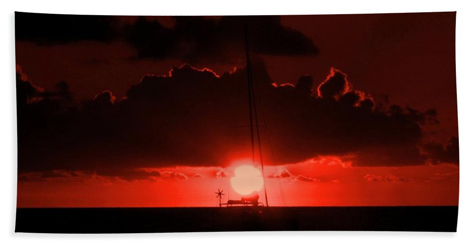 Sunset Hand Towel featuring the photograph Great Ball Of Fire by Ian MacDonald