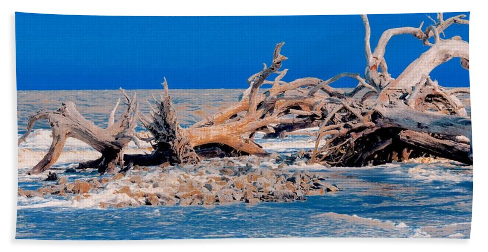 Jekyl Island Hand Towel featuring the photograph Great Blue Driftwood by Janal Koenig