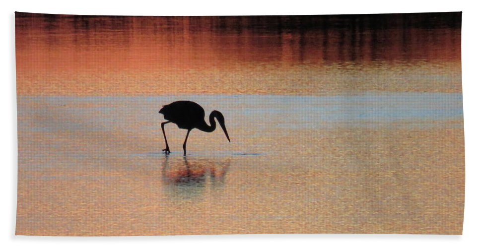 Great Blue Heron Bath Sheet featuring the photograph Great Blue Heron At Sunset by Pat Miller