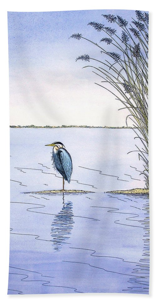 Great Blue Heron Hand Towel featuring the painting Great Blue Heron by Charles Harden
