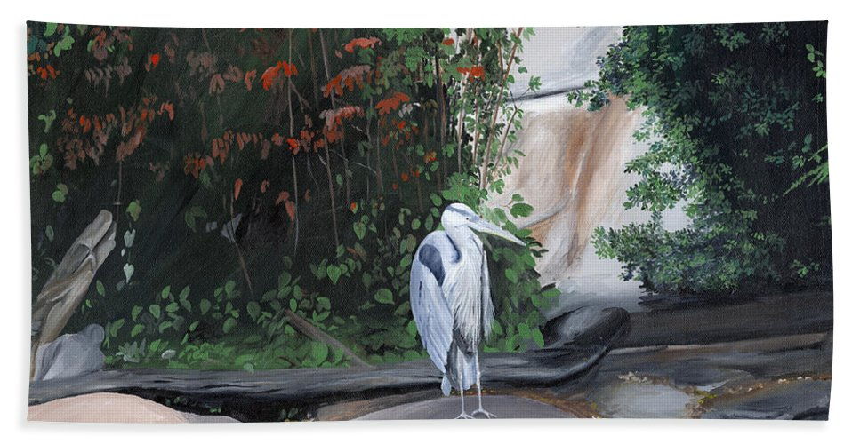 Heron Hand Towel featuring the painting Great Blue Heron by Glen Frear