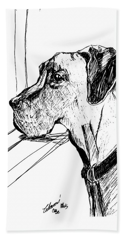 A Gentle Giant. Dog Bath Sheet featuring the drawing Great Dane Waiting by Charme Curtin