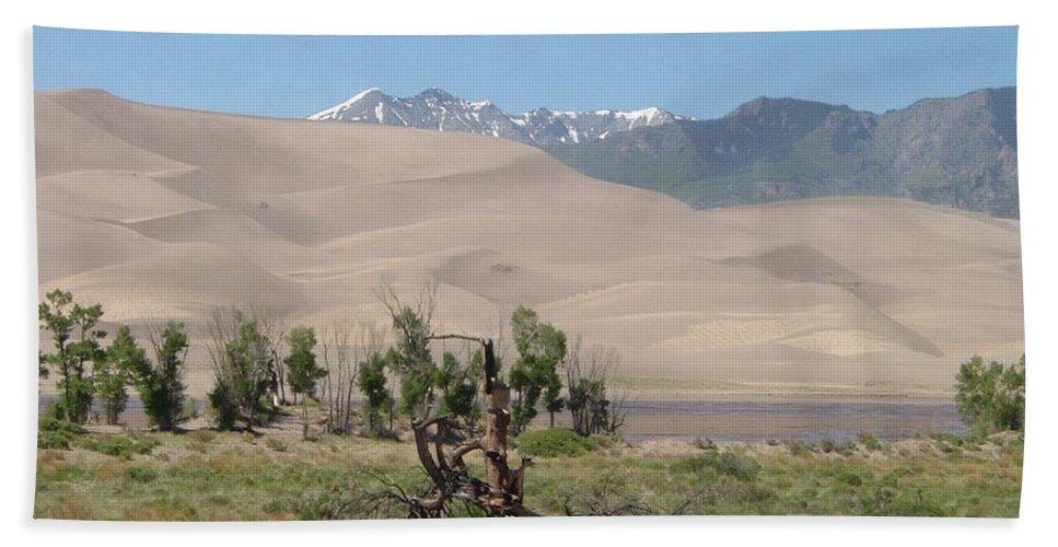 Great Dunes Photographs Canvas Prints Mountain Range Desert Landscape Colorado Bath Sheet featuring the photograph Great Dunes Trifective Range by Joshua Bales