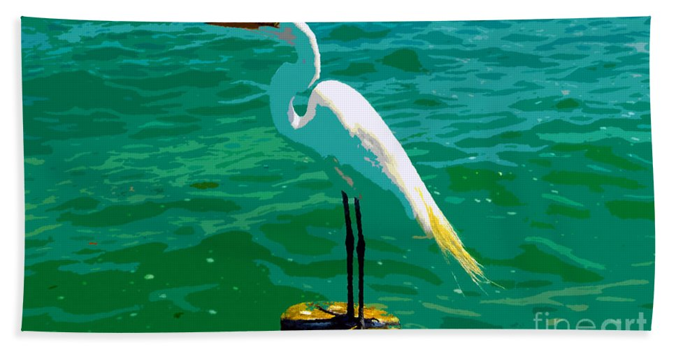 Great Egret Hand Towel featuring the painting Great Egret Emerald Sea by David Lee Thompson