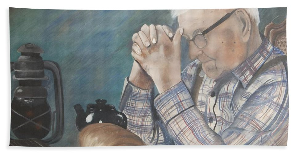 Great Grandpa Hand Towel featuring the painting Great Grandpa by Jacqueline Athmann