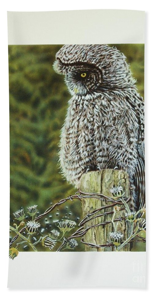 Owl Bath Sheet featuring the painting Great Grey Owl by Greg and Linda Halom