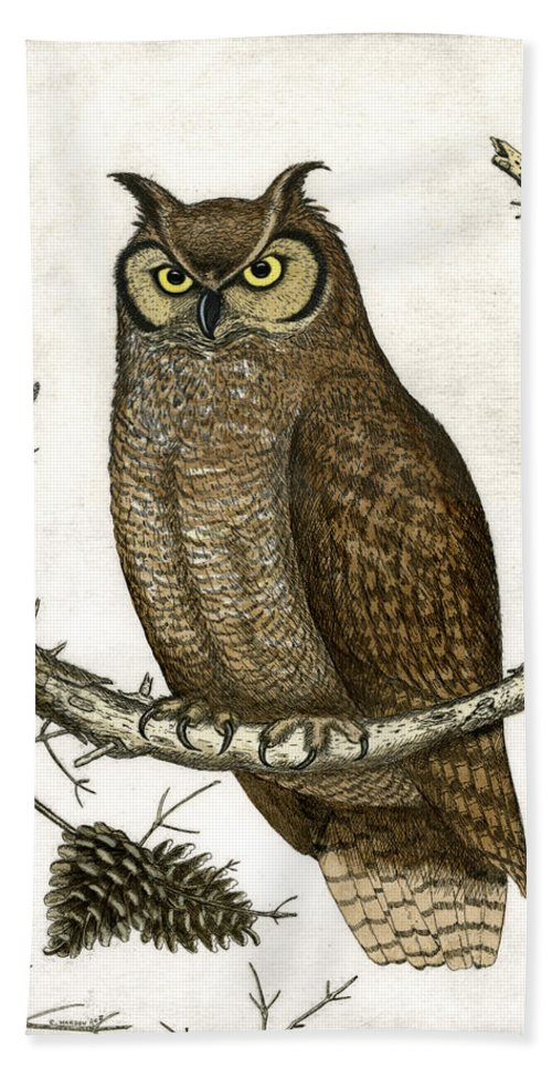 Etching Hand Towel featuring the painting Great Horned Owl by Charles Harden
