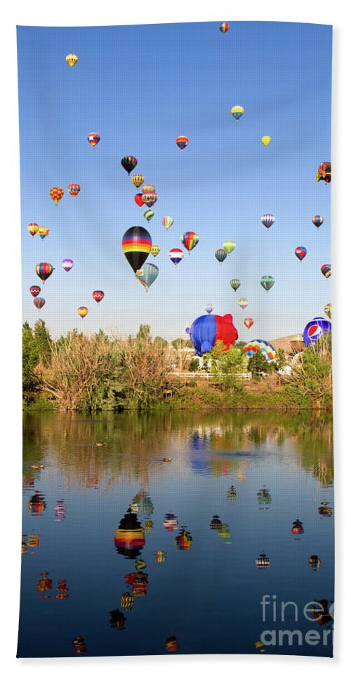 Balloons Bath Sheet featuring the photograph Great Reno Balloon Races by Steven Frame