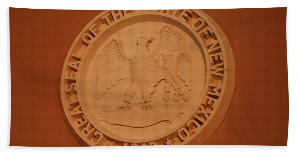 Eagle Hand Towel featuring the photograph Great Seal Of The State Of New Mexico 1912 by Rob Hans