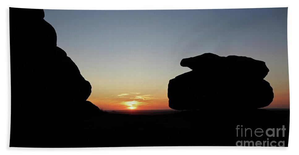 Dartmoor Bath Sheet featuring the photograph Great Staple Tor Silhouette by Sebastien Coell