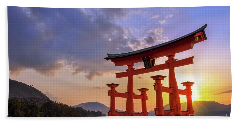 Japan Bath Sheet featuring the photograph Great Torii Of Miyajima At Sunset by Delphimages Photo Creations