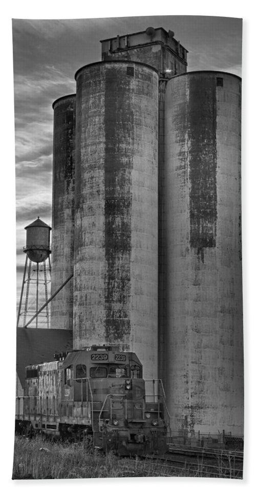 Great Bath Sheet featuring the photograph Great Western Sugar Mill Longmont Colorado Bw by James BO Insogna