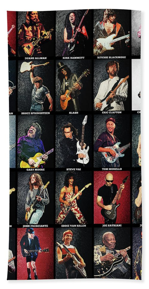 Guitar Bath Towel featuring the digital art Greatest Guitarists Of All Time by Zapista OU