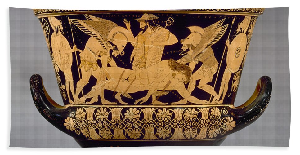 515 B. C. Hand Towel featuring the photograph Greece - Euphronios Krater by Granger