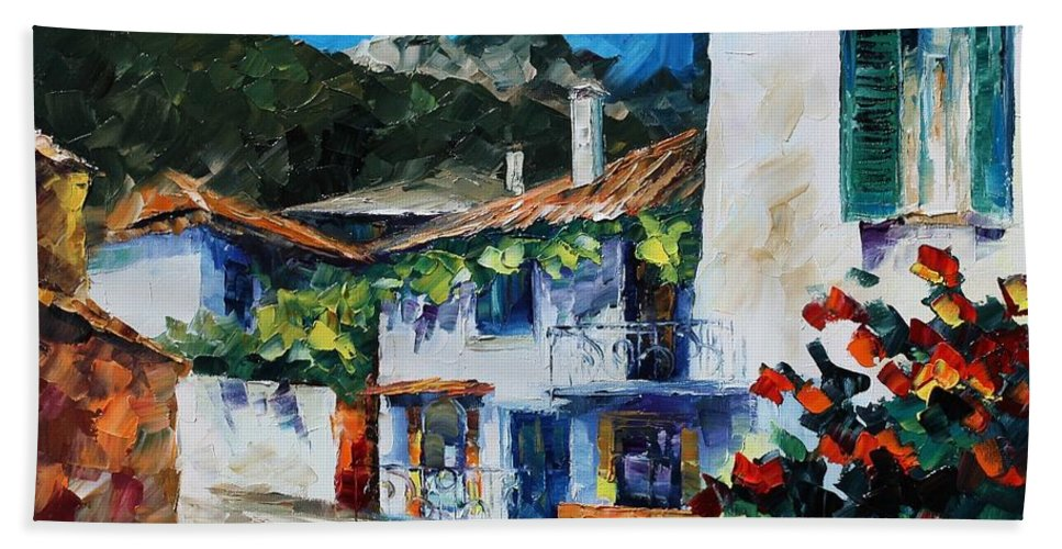 Afremov Bath Sheet featuring the painting Greece New by Leonid Afremov