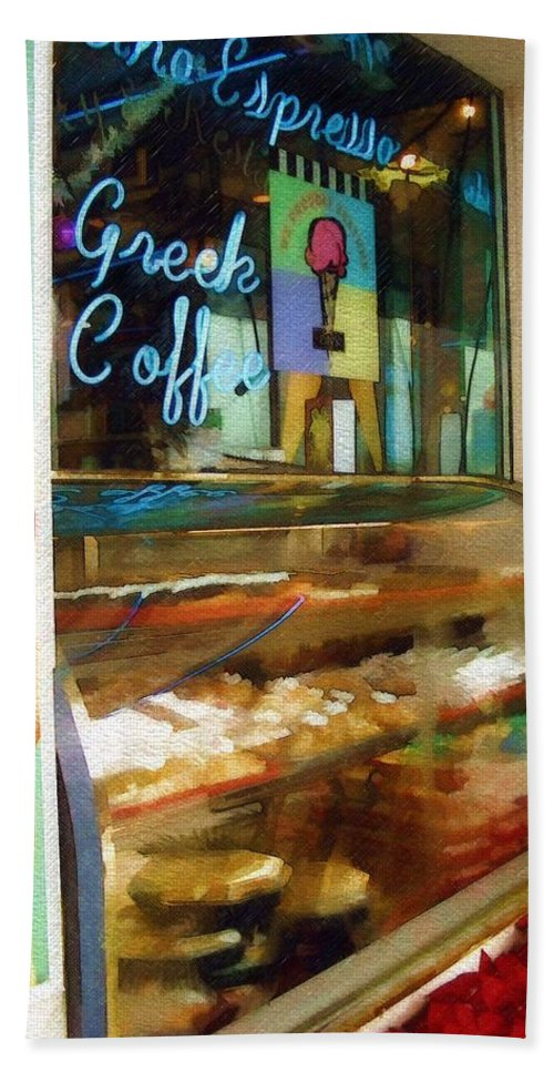 Greek Bath Towel featuring the photograph Greek Coffee by Sandy MacGowan