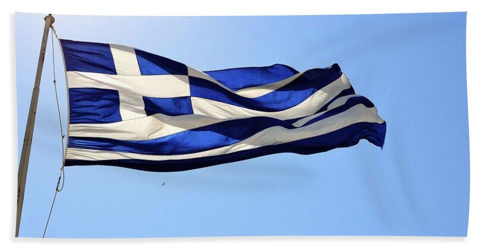 Greece Bath Sheet featuring the photograph Greek Flag by Corinne Rhode