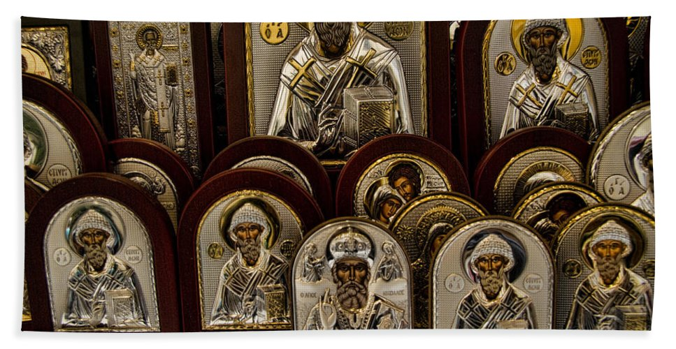 Icons Bath Sheet featuring the photograph Greek Orthodox Church Icons by David Smith