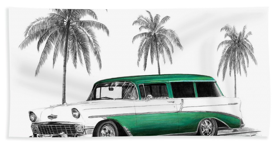 1957 Chevrolet Wagon Hand Towel featuring the drawing Green 56 Chevy Wagon by Peter Piatt