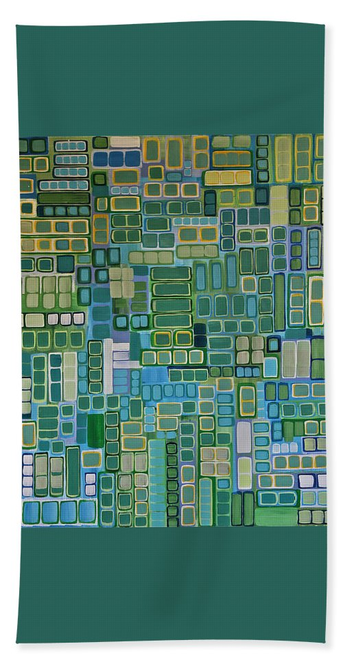 Abstract Hand Towel featuring the painting Green Abstract by Donna Howard