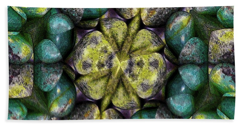 Creation Hand Towel featuring the mixed media Green And Blue Stones 2 by Jesus Nicolas Castanon