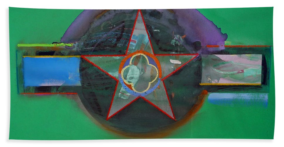 Star Bath Towel featuring the painting Green And Violet by Charles Stuart
