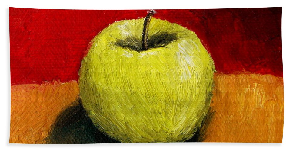 Apple Bath Towel featuring the painting Green Apple With Red And Gold by Michelle Calkins
