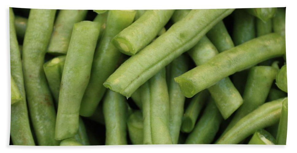 Foods Bath Towel featuring the photograph Green Beans Close-up by Carol Groenen