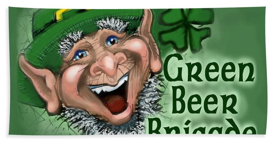 Green Beer Bath Sheet featuring the greeting card Green Beer Brigade by Kevin Middleton