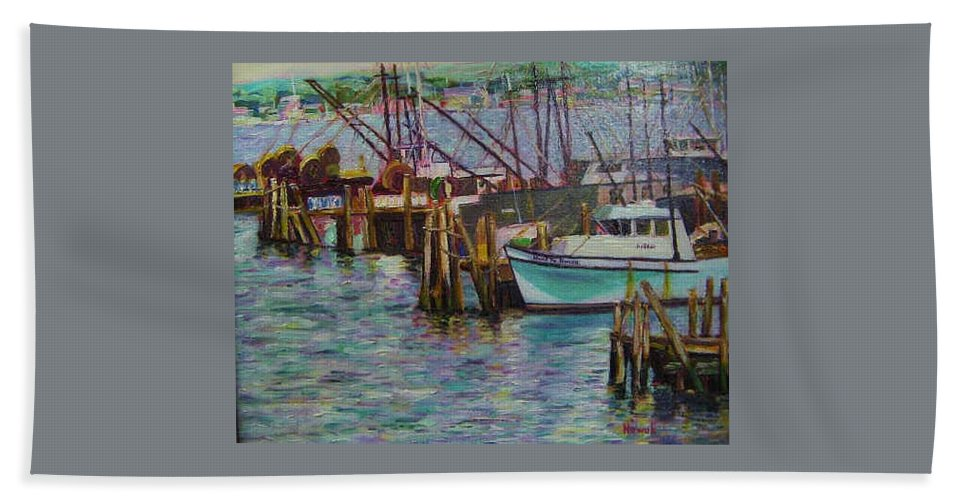 Boat Hand Towel featuring the painting Green Boat At Rest- Nova Scotia by Richard Nowak